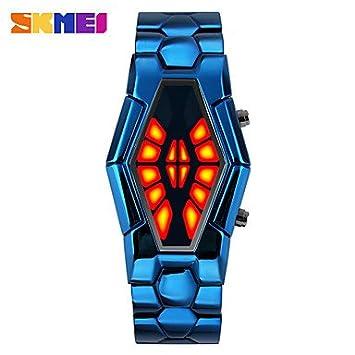 Relojes Hermosos, Hombre Reloj digital Reloj creativo único Reloj de Vestir Digital LED Aleación Banda Creativo Negro Azul Plata Dorado Oro Rosa: Amazon.es: ...