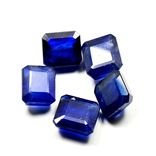 Gemsonclick 8X8 MM Size 5 Pcs Real Blue Sapphire Stone Square Faceted Loose Gemstone for Jewelry Making from Gemsonclick