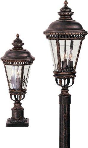 Feiss OL1907GBZ, Castle Cast Aluminum Outdoor Post Lighting, 180watt, Bronze (Includes Mini Desk Fan)