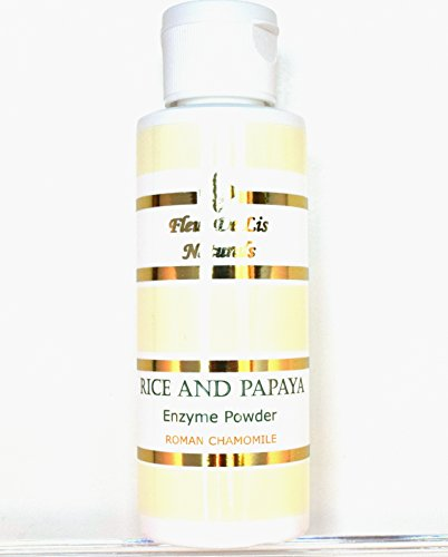 Rice and Papaya Enzyme Powder (water-activated) - Roman Chamomile - All Natural Super Gentle Smoothing and Restoring Daily Cleanser - Pore purifying, anti-aging, collagen boosting ingredients; fights wrinkles, acne scars, uneven skin tone, sagging skin, dry skin - 4 oz