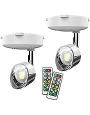 Draadloze spotlight, batterij aangedreven Accent Lights Art Lights for Paintings Mini Led Picture Light Puck Lights Wall Light met Rotatable Lights Head, 4000K Warm Light, 80 Lumen (Sliver)