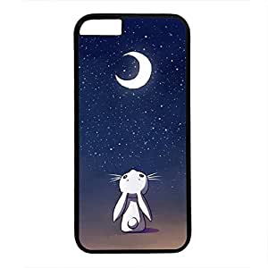 iPhone 6 Case, iCustomonline Moon Bunny Case for iPhone 6 PC Material Black