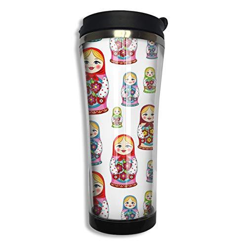 customgogo BPA Free Flip Cap Coffee Mug Double Wall Vacuum Travel Tumbler Russian Matryoshka Doll Travel Mug for Home,Office,School - Works Great for Hot and Cold Drink ()
