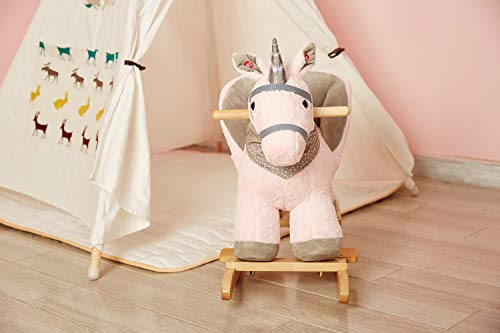 Rock My Baby Pink Rocking Unicorn with Chair,Plush Stuffed Animal Rocker,Wooden Rocking Toy Unicorn/Baby Rocker/Animal Ride on,Home Decor,for Girls,Indoor&Outdoor (Pink Unicorn) by Rock My Baby (Image #1)