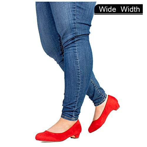 Women's Wide Fit Kitten Low Heel Extra Cushion Pumps Flats (True Wide Width) RED - Glitter Heels Kitten Red