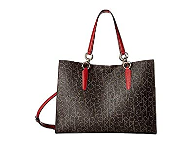 fcaada2f37 Calvin Klein Women's Monogram East/West Box Tote Brown/Khaki/Rouge One Size