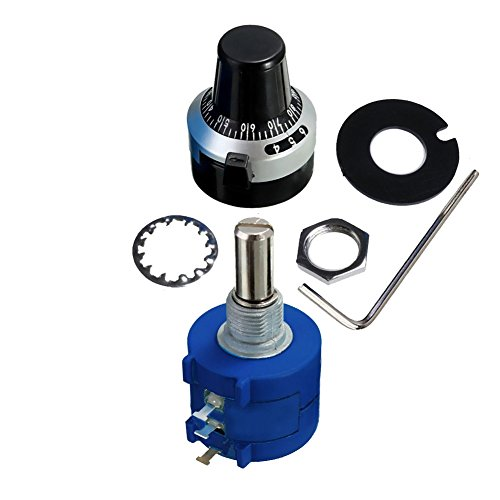 LGDehome 3590S-2-502L 5K Resistor Ohm Rotary Wire wound Precision Potentiometer Pot with 10 Turn Counting Dial Rotary Knob the scale knob set