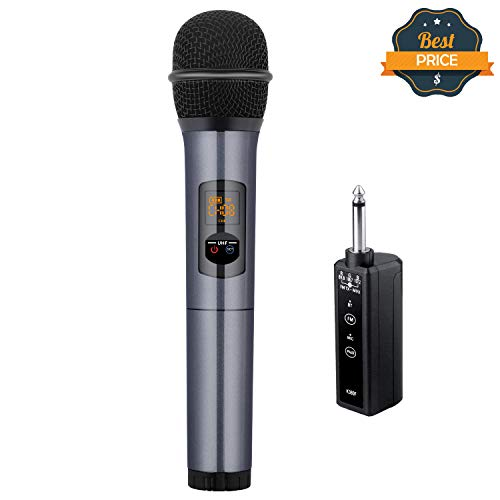 Kithouse K380F Wireless Microphone Karaoke Microphone Wireless Mic with Bluetooth Receiver Rechargeable Professional - UHF Dynamic FM Cordless Microphone For Singing Karaoke Speech(Elegant Gray)