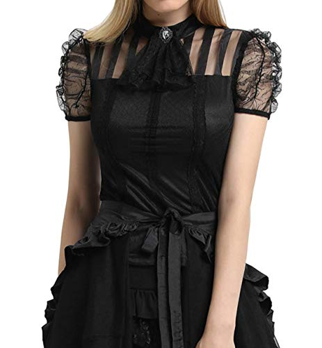 - Victorian Gothic Renaissance Blouses Shirts Top Short Sleeve Pirate Costume SL005-1 Black 2XL