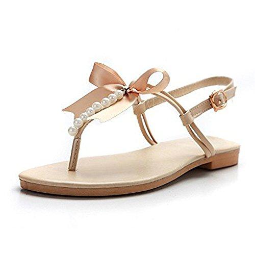 Très Chic Mailanda Sommer Damen eleganter Flip Flops Strand Pantoffel Sandalen mit Perlen