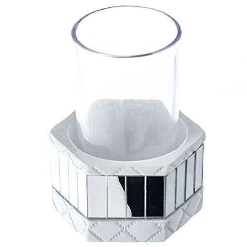 Quilted Mirror Bathroom Tumbler Holder with Glass (3.5
