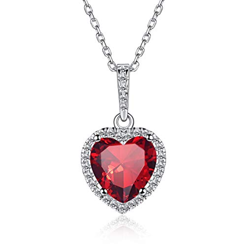 (Heart Necklace Love Ruby July Birthstone Necklace Sterling Silver Gemstone Pendant Heart Jewelry Gifts for Women Girls)