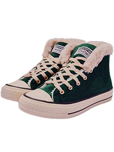 - JUSTFASHIONNOW Womens Girl Canvas Shoes Lace-Up Suede Sneaker Hight Top Fashion Walking Shoes Platform Warm Round Toe Comfy Ankle Snow Boots - Green 39