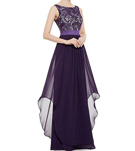 ZAFUL Elegant Lace Sleeveless Chiffon Evening Dress V-Back Party Wedding Bridesmaid Maxi Long Dress (2XL, (Chiffon Lace Evening Gown)