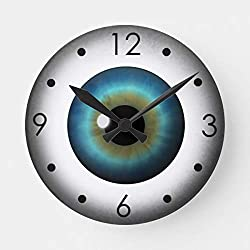 PotteLove Blue Eyeball Iris Eye Custom Medium Round Wooden Decorative Round Wall Clock
