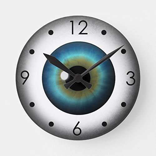PotteLove Blue Eyeball Iris Eye Custom Medium Round Wooden Decorative Round Wall ()