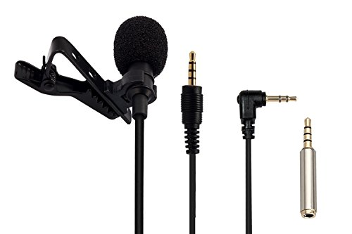 AGPtEK Lavalier Lapel Mic Clip-on Omnidirectional Condenser Microphone, with 2 Adapter for Smartphone,Computer,Line-in Recorder,Voice Amplifier,Video Camera