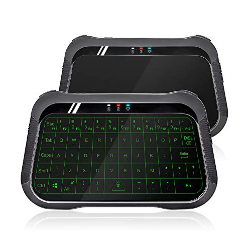 ANEWISH 2.4Ghz Mini Wireless Keyboard Full Screen Mouse Touchpad, Backlit Mini Keyboard Air Remote Mouse Combo, Rechargeable Handheld Remote Android TV Box, IPTV,HTPC, PC,Laptop More