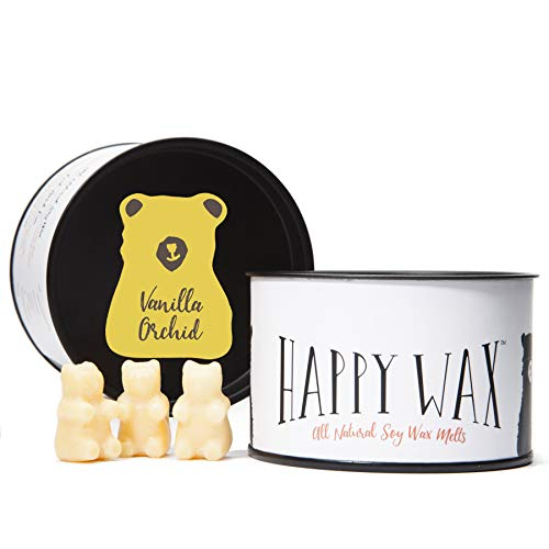 Happy Wax - New Vanilla Orchid Soy Wax Melts - Vanilla Orchid Scented Soy Wax Melts Infused with Essential Oils - Cute Bear Shaped Wax Melts Perfect for Melting in Your Warmer (3.6 Oz Classic Tin)
