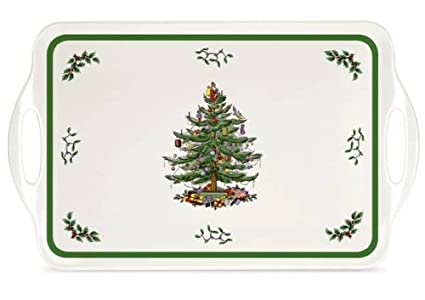 Amazoncom Spode Christmas Tree Melamine Serving Tray With Handles