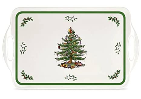 Melamine Christmas Platters.Spode Christmas Tree Melamine Serving Tray With Handles 19 1 4 Inch