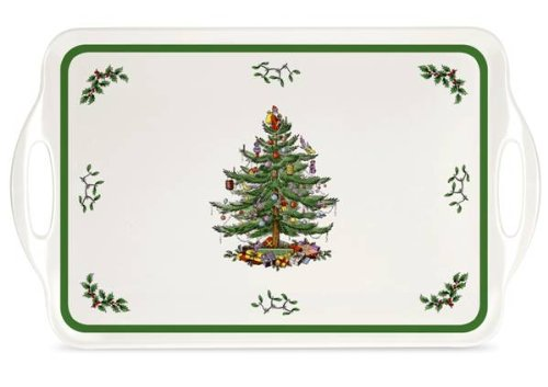 Spode Christmas Tree Melamine Serving Tray with Handles, 19-1/4-Inch (Christmas Tree Serving Platter)