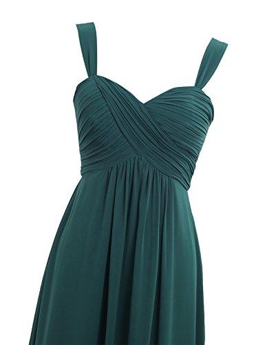 Tirantes Mujer de Freebily Fiesta Verde para Dama Vestido de Verano Cóctel Elegante Boda Honor de Largo Vestido Oscuro qEw60E