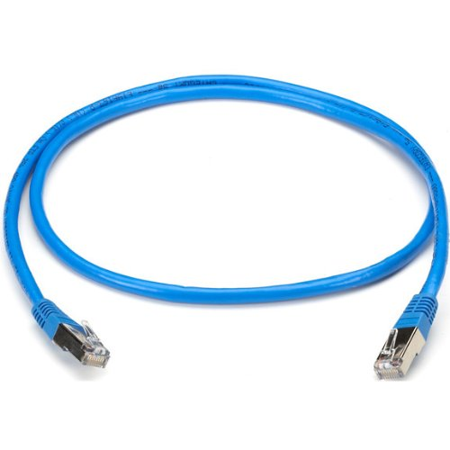 Black Box CAT5 Shielded Twisted-Pair Cable (STP) with Molded Boots, T568B, 4-Pair, RJ-45, Solid, Plenum-Rated, NEC CMP, Blue, 20-ft. (6.0-m)