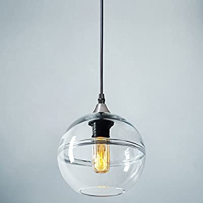 "Casamotion Pendant Lighting Handblown Glass Drop Hanging Light, Unique Optic Glass Pendant Lamp, Brushed Nickel Finish, Clear, 7'' - Mini Pendant Dimensions: 7.4""*7.4""*6.9""glass shade, 70.8"" adjustable hard wire cord/chain. Bulb NOT included. Easy-to-install. SODA-LIME GLASS: All CASAMOTION handmade glass shade is produced from soda-lime glass-which is lead free, unlike crystal. Hand Blown Glass Light: Each Pendant Lamp is individually mouthblown and handcrafted by skilled craftsmen. Slight variations may occur. - kitchen-dining-room-decor, kitchen-dining-room, chandeliers-lighting - 41DCKTF5nJL. SS400  -"