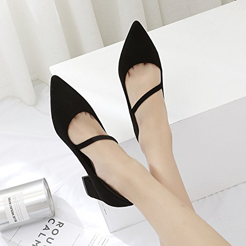 35 calzature punta bocca profonda con poco marea donna con donna nero scarpe donna Suggerimento di bold scarpe raso wild unica scarpe fdRRq