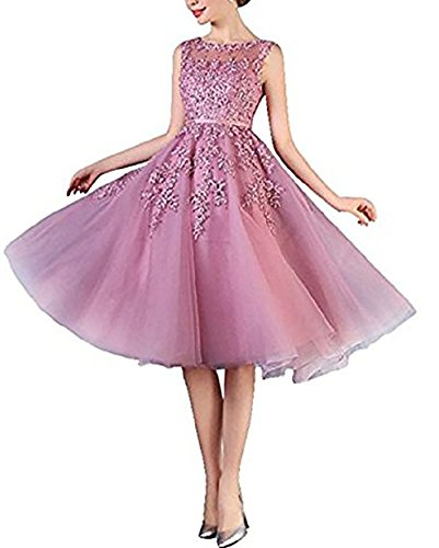 Scarisee Women's A-line Appliqued Beaded Cocktail Party Dress Tea-Length Homecoming Prom Gowns Pink 04