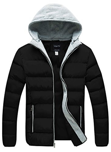 Lega Mens Winter Warm Outwear Coat Soft Shell Jacket with Removable Hood(Black,US M)