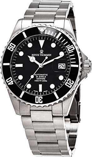 Revue Thommen Diver Watch Automatic Mens - 42mm Analog Black Face Diving Watch with Second Hand, Date and Sapphire Crystal - Metal Band Stainless Steel Swiss Made Dive Watches for Men Waterproof 300M