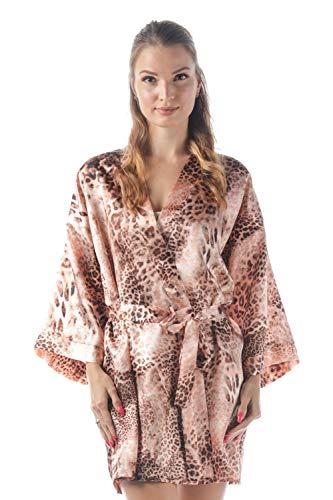 momomio Short Silk Satin Robe for Women Floral Animal Print Loungewear Sleepwear (M, Peach Leopard)
