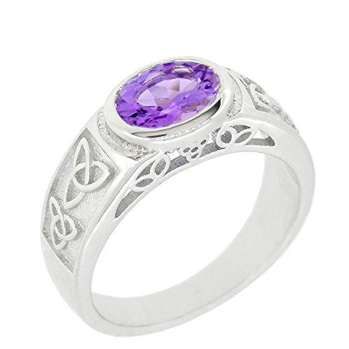 Amethyst Celtic Knot Ring (Sterling Silver Natural Gemstone Amethyst Citrine Garnet Peridot Celtic Knot Ring (7, amethyst))