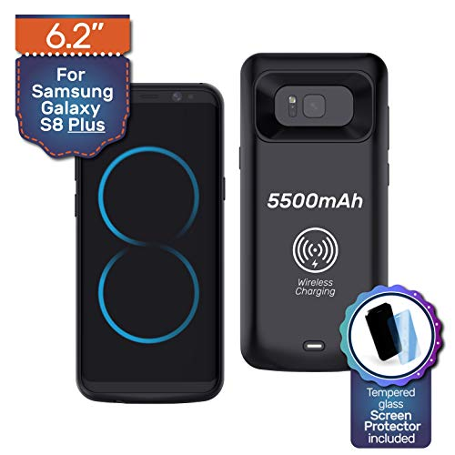 Never Run Out Samsung Galaxy S8 Plus Case Charger Battery Pack Wireless Charging Protective Case 5500mAh Power Bank Case Tempered Glass Screen Protector