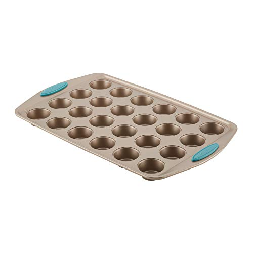 Rachael Ray 47549 Cucina Nonstick Bakeware 24-Cup Bite-Size Baker, Latte Brown, Agave Blue Handle Grips