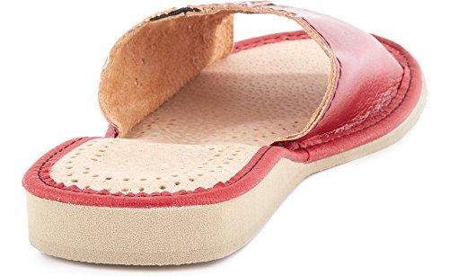 Rouge Chaussures Femme Plates Été Mules Ladeheid Claquettes Pantoufles Sandales LABR27 qfIzwBOn7
