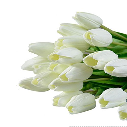10PCS/LOT high quality PU Stunning Holland mini tulip flower real touch wedding flower artificial flowers silk plants for room home hotel party Event christmas gift decoration multi-color (white)