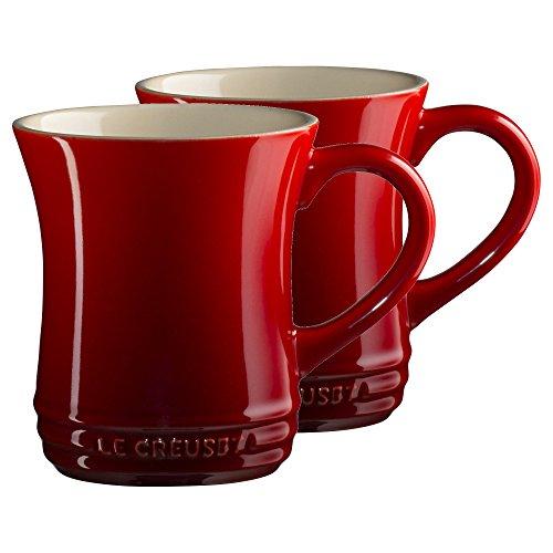 Le Creuset Cherry Stoneware 14 Ounce Tea Mug, Set of 2