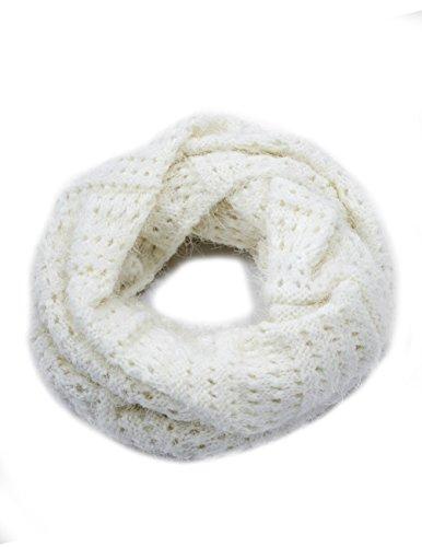 Dahlia Women's Knit Infinity Scarf - Silky Soft Feather Yarn - White