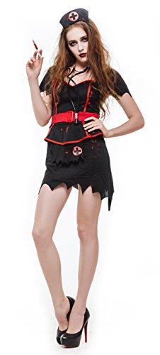 [Whatsofun Women's Blood Zombie Nurse Costumes/black (Large)] (Zombie Nurse Costumes)
