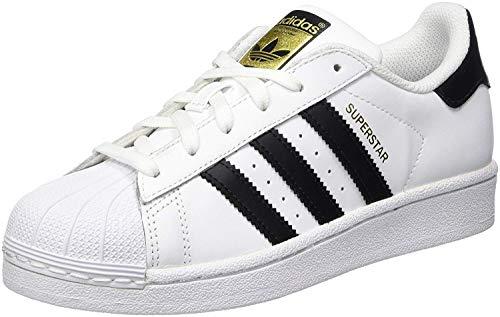 adidas Originals Superstar J Casual Low-Cut Basketball Sneaker (Big Kid),White/Black/White,5 M US Big Kid ()