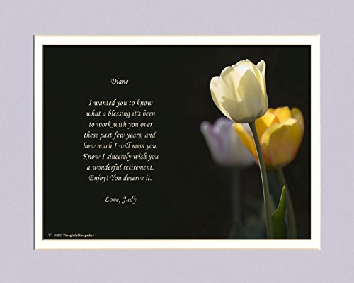 Personalized Retirement Gift. White Tulip Photo with Best Wishes from Coworker(s) Poem, 8x10 Double Matted. Unique Coworker Retiree Gifts.