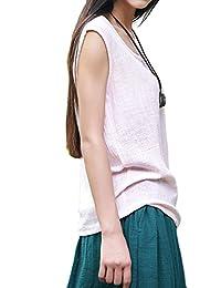 Asher Fashion Womens Summer Cute Plus Size Sleeveless Cotton Linen Top Blouses