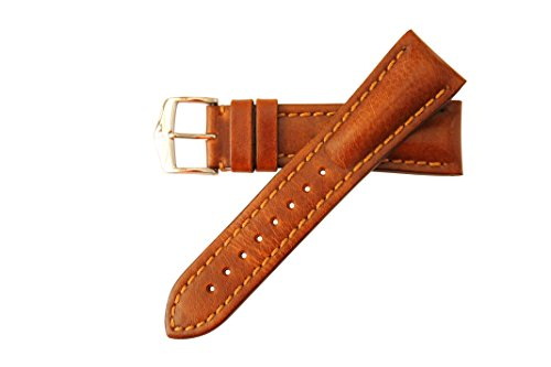 Hirsch Lucca Distressed Artisan Leather Watch Band Strap 20mm Gold Brown