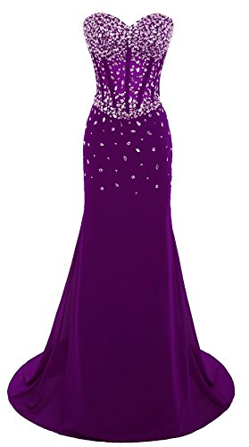 Corset Sweetheart BD382 Dresses Evening Long Bodice Strapless Crystals BessDress Purple Gown Party ZqwdC5COW