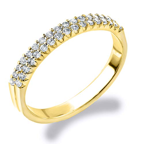 Eternity Wedding Bands 10K Yellow Gold 0.25 CT Double Row Diamond Anniversary Ring, Size 6 (Anniversary Ring Row Diamond)