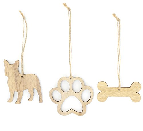 - French Bulldog Christmas Ornament Frenchie Dog Lover Gifts Wooden Christmas Ornaments 3-Piece Bundle
