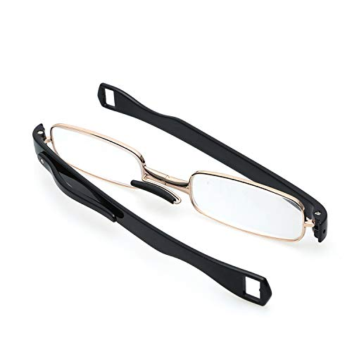 360 Degree Rotating Folding Reading Glasses with Silicone Nose Pads Portable Fashion with Packaging,Black,+3.50